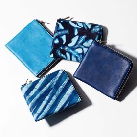 【池之端銀革店】CrampxSUKUMO Leather 藍染めL字ファスナーショートウォレット