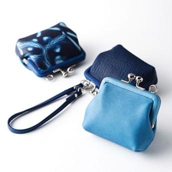 【池之端銀革店】CrampxSUKUMO Leather 藍染めがま口財布 小