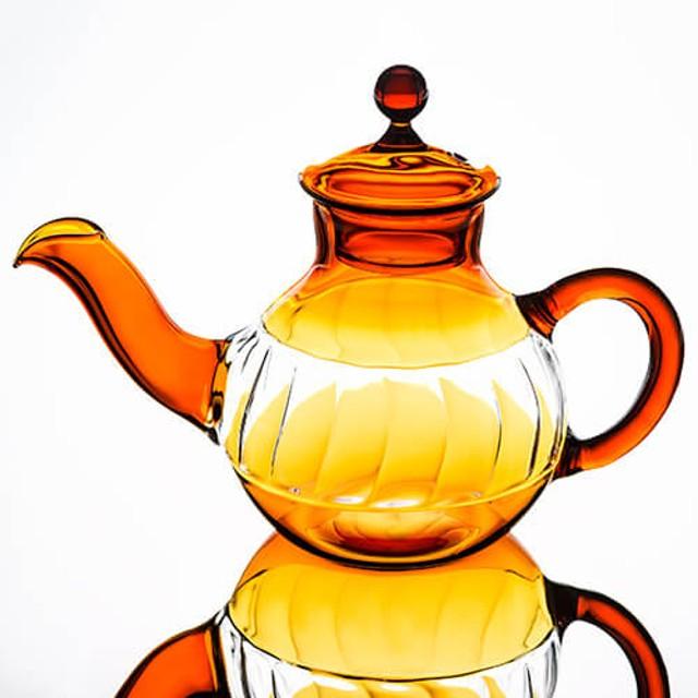 【北村妙子】ガラスの急須 amber