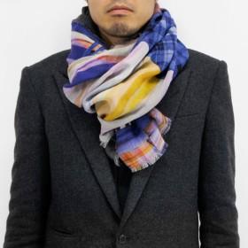 【丸枡染色】テンセルダブルガーゼストール「時雨ストライプ」