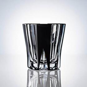 【清水硝子】江戸切子「風車」黒ロックグラス