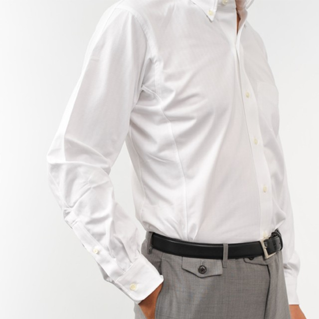 【INDUSTYLE TOKYO】動体裁断ニットドレスシャツ COOL MAXヘリンボン 長袖ボタンダウン