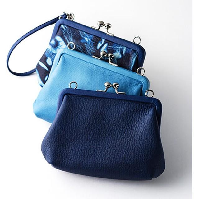 【池之端銀革店】CrampxSUKUMO Leather 藍染めがま口財布 大