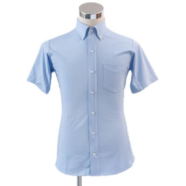 【INDUSTYLE TOKYO】動体裁断ドレスシャツ ニットヘリンボン 半袖ボタンダウン(COOL MAX)