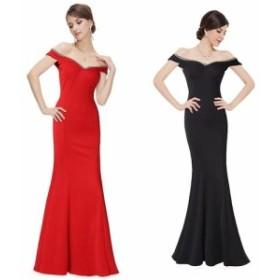 大きなサイズ(XLサイズ)豪華な胸元ラインストーン装飾sexy肩魅せデザインロングドレス 全3色(黒・赤・青) bigdore b-lo longer