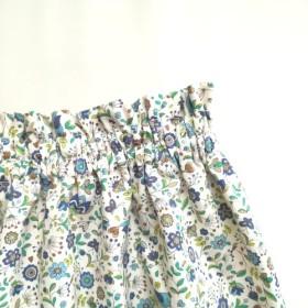 ウエストゴムのギャザースカート(青)