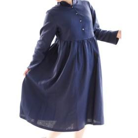 【wafu】中厚 リネンワンピース ショールカラー 前開き ギャザー ドレス ミモレ丈/ネイビー a019c-neb2
