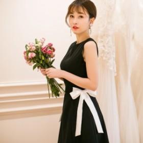 サイドリボン ミニワンピース ドレス《ブラック》S/M/L