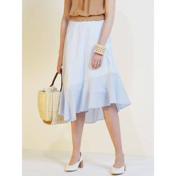 [LAGUNAMOON]ブロッキングストライプフレアースカート