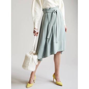 [LAGUNAMOON]ウエストリボンイレギュラーヘムフレアースカート