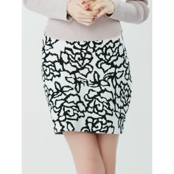[RESEXXY]バラ柄ニットタイトスカート