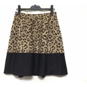 トゥービーシック TO BE CHIC スカート サイズ42 L レディース アイボリー×ダークブラウン×黒 ツイード/豹柄【中古】