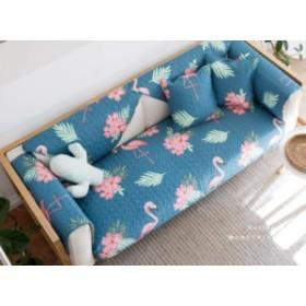 キルトパッド ソファマット フラミンゴ トロピカル風 ブルー (長方形A 70×180cm)
