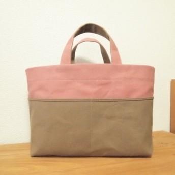 帆布 bicolor tote S (pink × beige)
