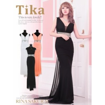 Tika ティカ トレーン風ウエストビジューロングドレス (ホワイト/ピンク/ブラック) (Mサイズ) パーティー キャバ ドレス キャバクラ キ