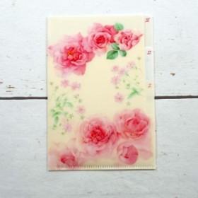 A6クリアフォルダー ピンクローズ フロンティア 花柄 バラ柄 ローズ デザイン おしゃれ 大人