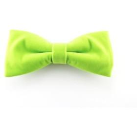 『NEU! Green』 ベルベット調ネオンカラーグリーン マグネット式蝶ネクタイ