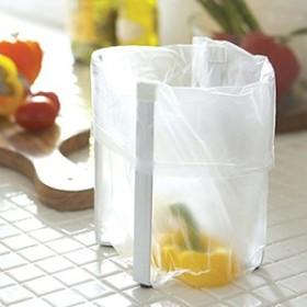 ポリ袋エコホルダー タワー キッチン収納 コップスタンド 生ごみ用ゴミ箱にもなる アイデア次第 便利雑貨 北欧風 大人気 ホワイト ブラッ