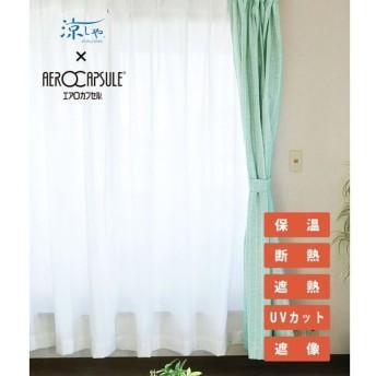 レースカーテン 100×108cm丈 2枚組 遮光 断熱 UVカットウォッシャブル 保温 遮像 国産 日本製 エアロカプセル ホワイト 代引不可