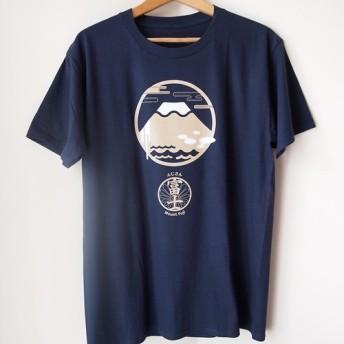 [受注]自己設計の半袖Tシャツ:有名なマウンテンシリーズ - 日本富士山(ネイビーブルー)