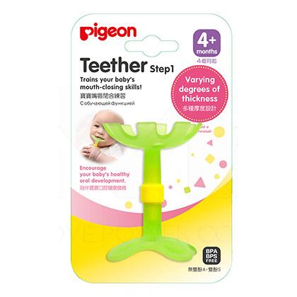 Pigeon貝親 嘴唇訓練固齒器-綠色小花