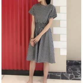 ラウンドネック 半袖ワンピース チェック柄のシャツドレス