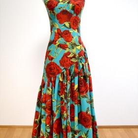フラメンコ衣装 スペイン製生地 赤ばら柄 大輪 (P-1)