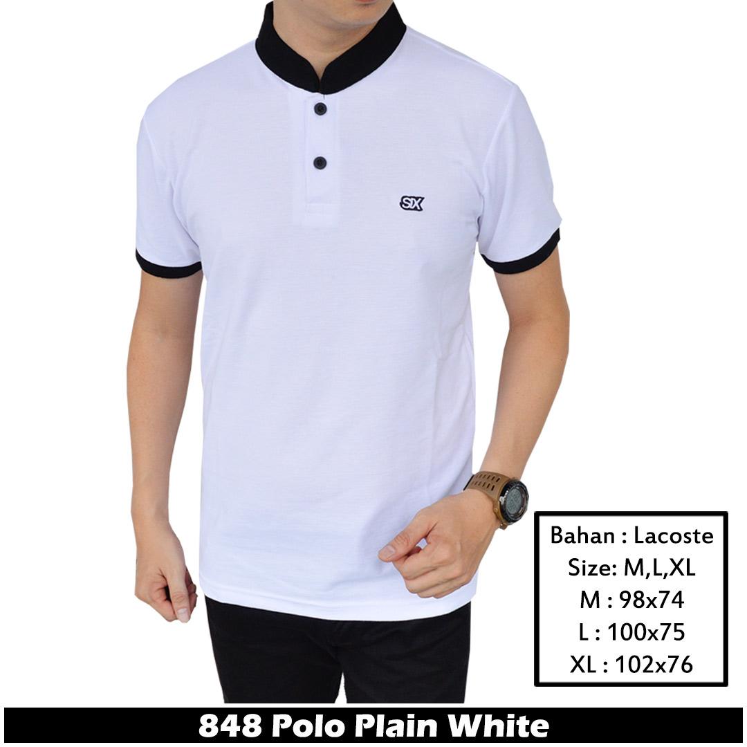 IFH 848 Polo Shirt Kombinasi Putih / Baju Polo Pria / Baju Kerah Sanghai Cowok BERKUALITAS