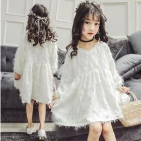 子供 ワンピース 長袖 ドレス キッズ ワンピース フォーマル チュニック ロング 女の子ワンピース 入学式 こども服 入園式