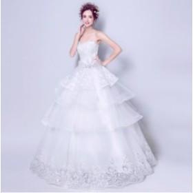 プリンセス ウェディングドレス ドレス パーティー 結婚式 ワンピース ベアトップ ロング 安い 花嫁 カラー アシンメトリー ビスチェ