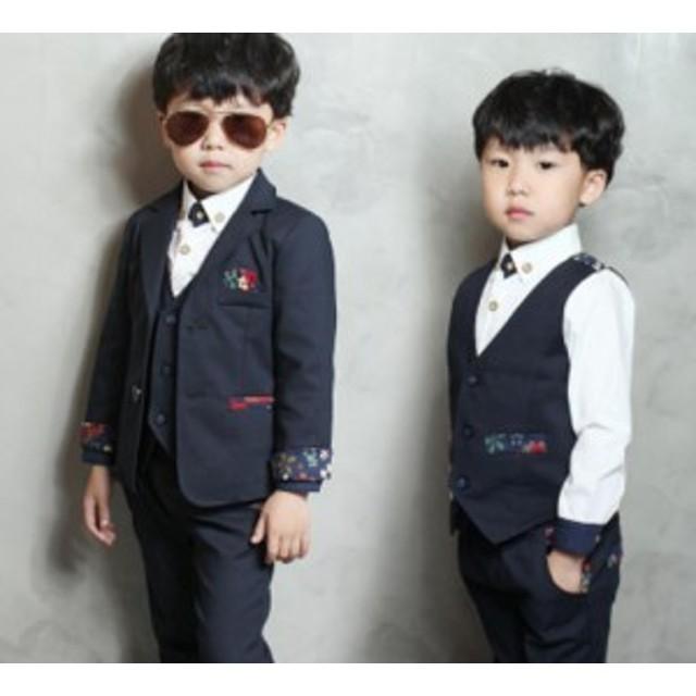 f531c91de1db7 90-140cm韓国風 4点セット子供 フォーマル スーツ  ベビー フォーマル 男の子 ベビー