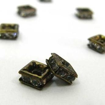 四角型 ラインストーン ロンデル 真鍮古美 5mm【約100個入り】 6000184