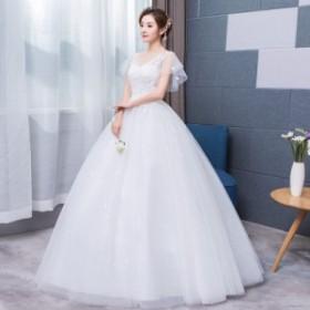 韓国風ウェディングドレス花嫁結婚式二次会ドレス パーティードレス ロングドレス  マタニティウエディングドレス大きいサイズ  ホワイト