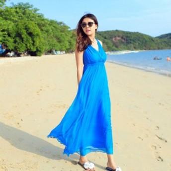 ビビッドカラー ロングワンピース フェアリースカート《6colors》S/M/L