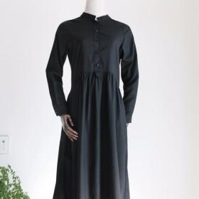 ワンピース スカート 綿麻 ブラック ゆったり ふんわり ロング丈 「身幅調整可能」002