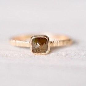 Deep Green Square Diamond Ring
