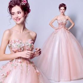 09363e7380949 ウェディングドレス 透かし彫り プリンセスライン ビスチェ ロング丈 演奏会 披露宴 二次会 パーティー カラードレス