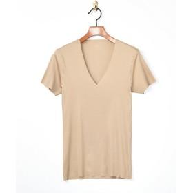 <シーク/SEEK> 年間定番/半袖VネックTシャツ/PREMIUM LINE/完全無縫製(EE6014/) 44・ベージュ【三越・伊勢丹/公式】