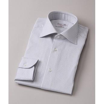 <フェアファクス/FAIRFAX> ワイドカラー/ストライプ柄/長袖ドレスシャツ(N3006) ライトグレー 【三越・伊勢丹/公式】