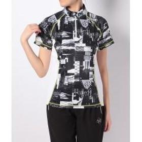 15%OFFクーポン対象商品 (セール)Number(ナンバー)ランニング レディース半袖Tシャツ レディースRUNフォトプリハーフジップTシャツ NB-S18-302-096 レディース ホワイト クーポンコード:CKJNNW