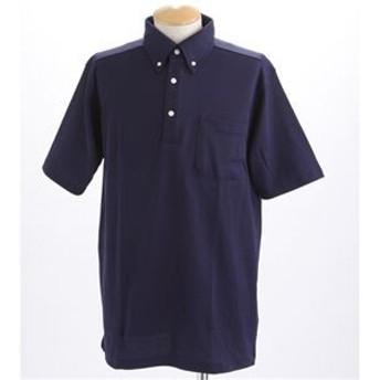 COO LBIZ 吸汗速乾ドライメッシュボタンダウン 鹿の子ポロシャツ ネイビー Sサイズ
