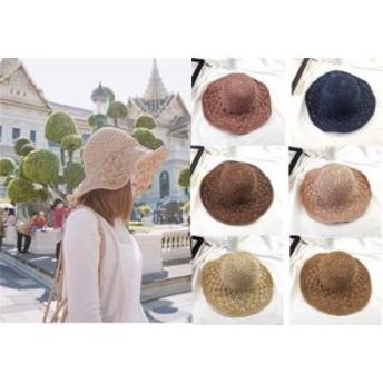 6色 帽子 レディース 女優帽 麦わら 折りたたみ 飛ばない 紫外線対策 夏 ギフト UVカット UV対策 ハット かわいい