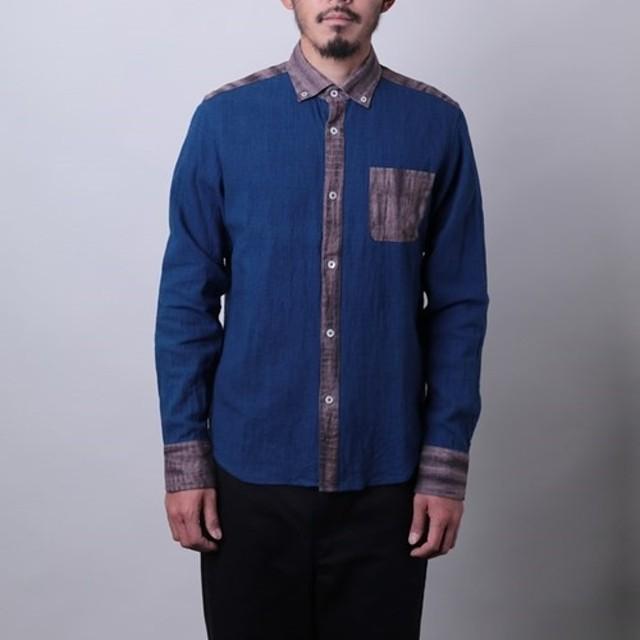 Mサイズ藍染め 備後節織×有松絞 日本の伝統生地をたっぷりに使ったボタンダウンシャツ byツムギラボ