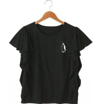ペンギン レディース袖フリルTシャツ 黒