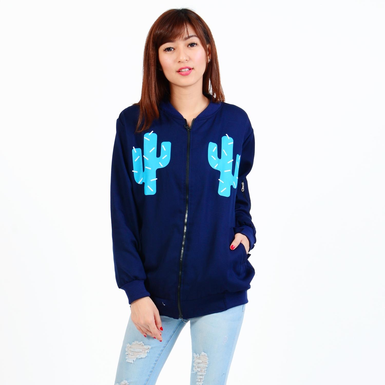 Boontie Store Shop Line Jaket Boomber Blue Navy Kaktus Bomber Wanita Atasan Pakaian
