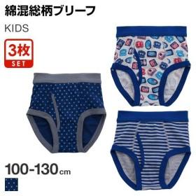 40%OFF【メール便(30)】 KIDS briefs 3pieces 男児 綿混 総柄 前開き ブリーフ 3枚組