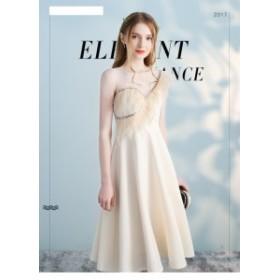 シャンパン色 ブライズメイドドレス オシャレ ワンピース パーティドレス イブニングドレス お呼ばれ 結婚式 二次会 誕生日