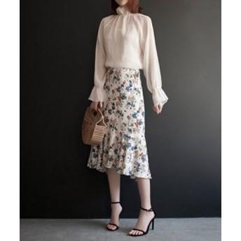 花柄シフォンフィッシュテールスカート ホワイト