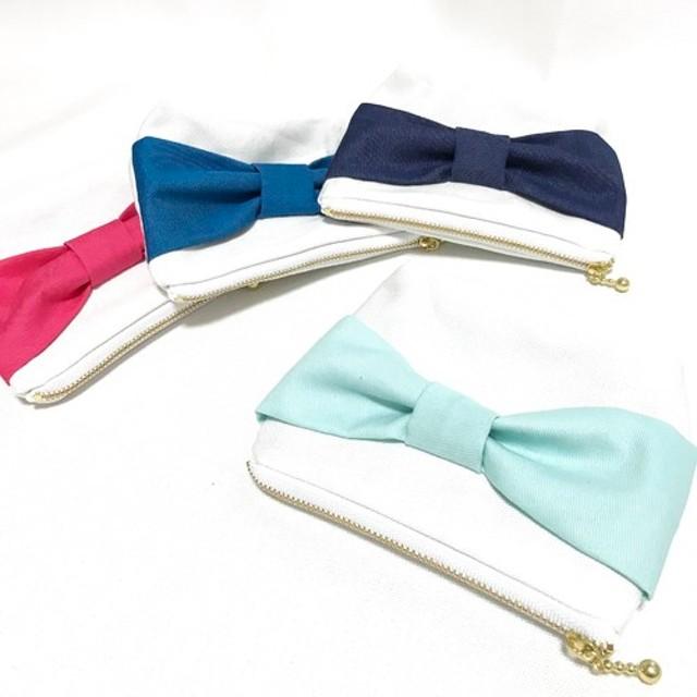 love ribbon ポーチ ティファニーブルー