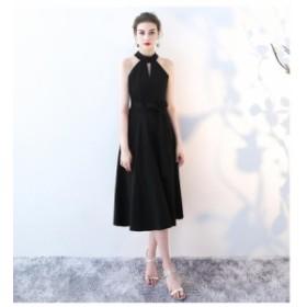 エレガント ブラック パーティ ワンピース ミモレ丈 パーティドレス 着痩せ イブニングドレス お呼ばれ 誕生日 二次会